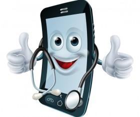 Funny cartoon mobile phone vector 06