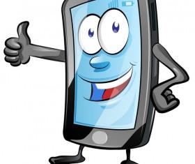 Funny cartoon mobile phone vector 08
