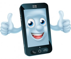 Funny cartoon mobile phone vector 09