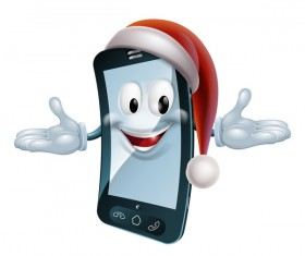 Funny cartoon mobile phone with christmas hat vector