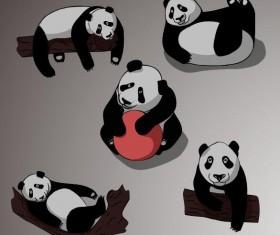 Funny panda vectors