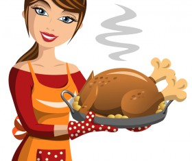 Girl cook with thanksgiving turkey vector 01