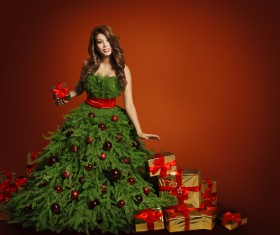 Girl dressed Christmas tree Stock Photo 01