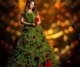 Girl dressed Christmas tree Stock Photo 02