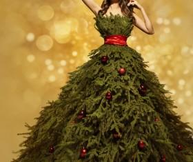 Girl dressed Christmas tree Stock Photo 03