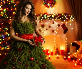 Girl dressed Christmas tree Stock Photo 04