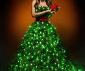 Girl dressed Christmas tree Stock Photo 05