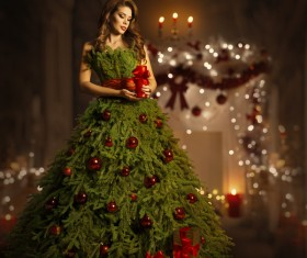Girl dressed Christmas tree Stock Photo 06