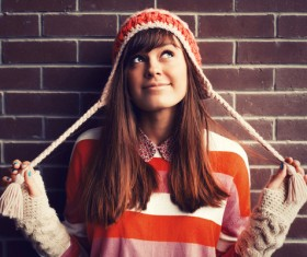 Girl wearing a knit hat Stock Photo