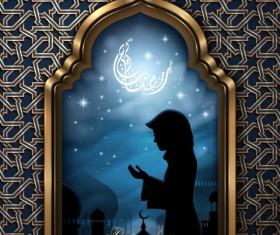 Girl with Ramadan Kareem background vector