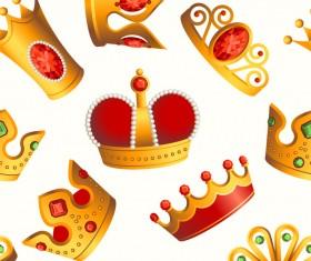 Golden crowns seamless pattern vector