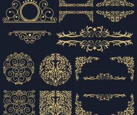 Golden ornaments design vector set
