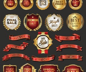 Golden retro sale badges and labels vector