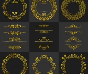 Golden round frame with calligraphic oranment vector