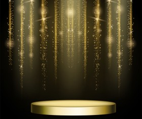 Golden stage with light curtain background vector 01