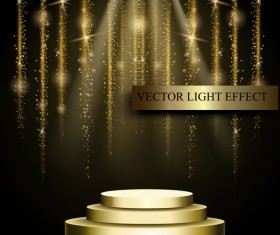Golden stage with light curtain background vector 02