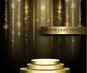 Golden stage with light curtain background vector 03