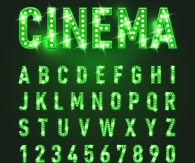 Green neon lights alphabet with number vector