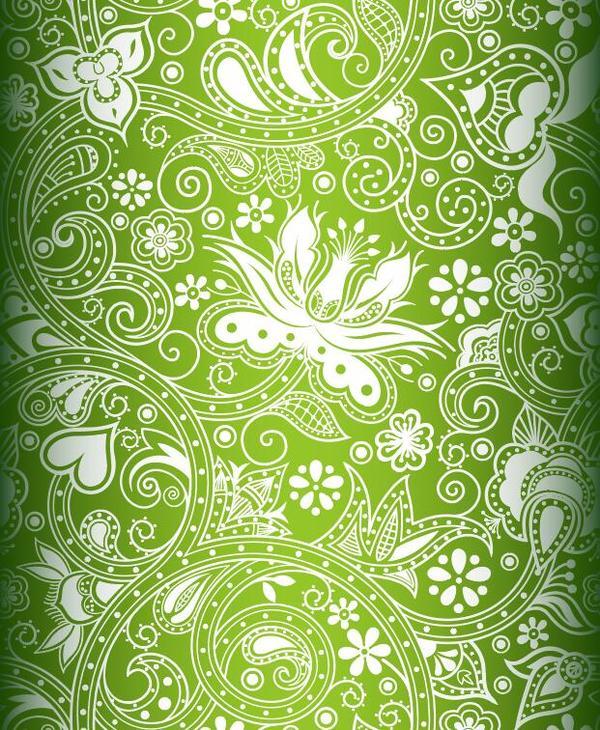 Green ornament floral vector