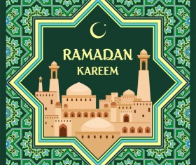 Green ramadan card template vecrtor