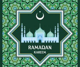 Green ramadan greeting card vector 01