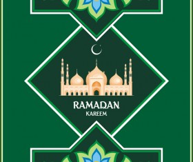 Green ramadan greeting card vector 02