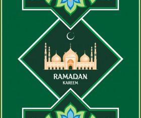 Green ramadan greeting card vector 02