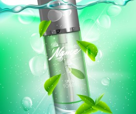 Green tea leaves cosmetic advertising poster vector