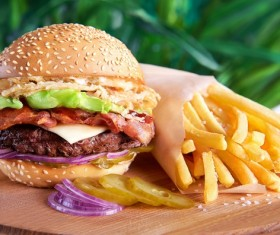 Hamburger and fries onion on the desktop Stock Photo