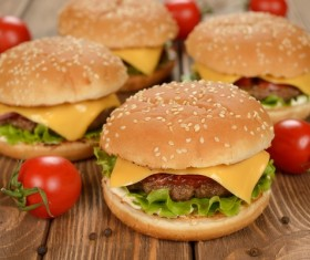 Hamburger and tomato on the desktop Stock Photo