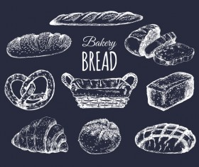 Hand drawn bakery food vector