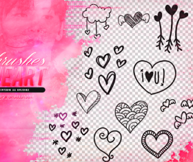 Hand drawn heart photoshop brushes set