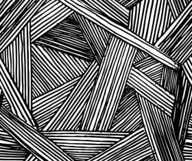 Hand drawn lines pattern seamless black with white vectors 05