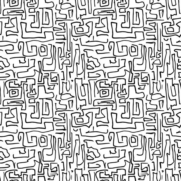 Hand drawn lines pattern seamless black with white vectors 09