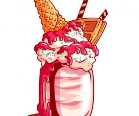Hand drawn milkshake vector material 02