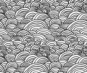 Hand drawn wave seamless pattern black with white vectors