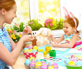 Hand-painted Easter eggs of mother and daughter Stock Photo 01
