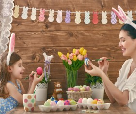 Hand-painted Easter eggs of mother and daughter Stock Photo 02