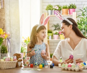 Hand-painted Easter eggs of mother and daughter Stock Photo 03
