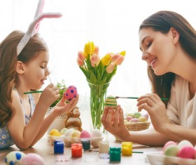 Hand-painted Easter eggs of mother and daughter Stock Photo 04