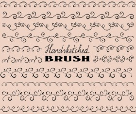 Hand sketched brush border vector