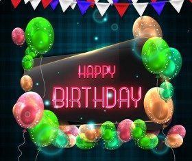 Happy birthday background with glass banner vectors 01