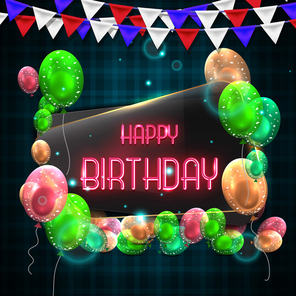 Happy birthday background with glass banner vectors 01 free