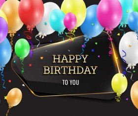 Happy birthday background with glass banner vectors 02
