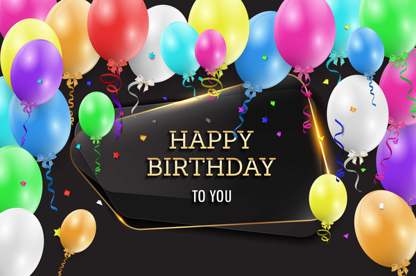 Happy birthday background with glass banner vectors 02 ...