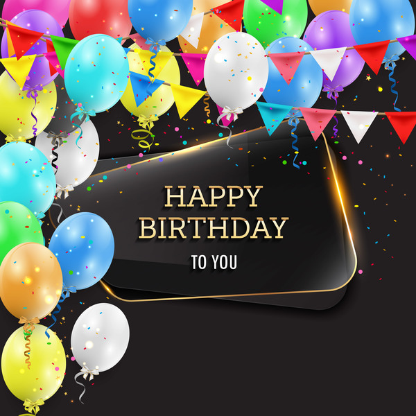 Happy Birthday Background With Glass Banner Vectors 03