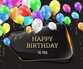 Happy birthday background with glass banner vectors 04