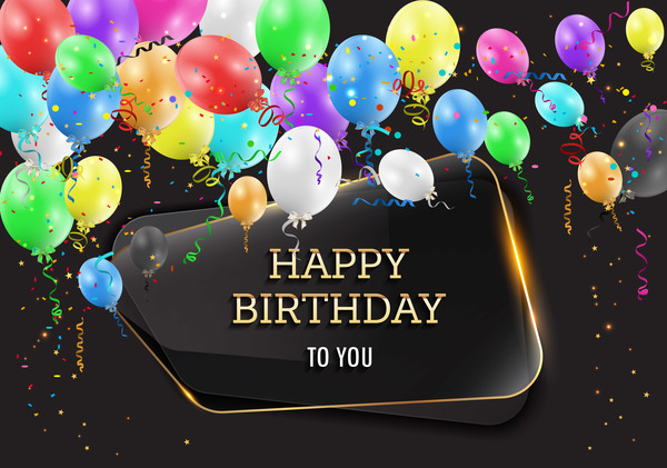 Happy birthday background with glass banner vectors 04 ...