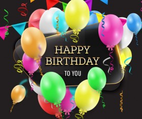 Happy birthday background with glass banner vectors 05