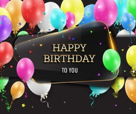 Happy birthday background with glass banner vectors 06